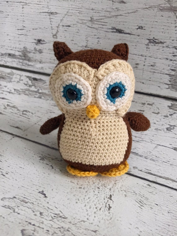 Hooty the Mini Owl, Crochet Owl Stuffed Animal, Owl Amigurumi, Plush Animal, Ready to Ship