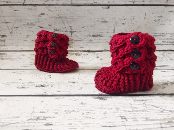 6-12 Month Baby Booties, Slipper Boots, Crochet Crocodile Boots, Ready To Ship