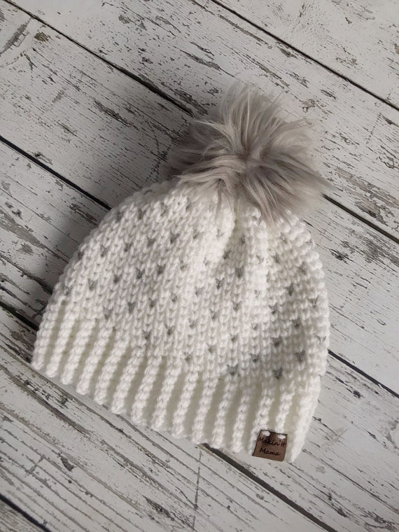 Womens Beanie, Women's Fair Isle Pom Hat, Faux Fur Pom Hat, Crochet Beanie, Womens Winter Hat, Ready to Ship