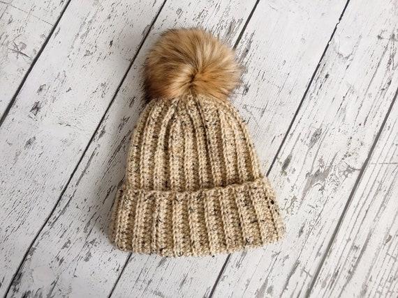The Classic Brim Beanie Women's Faux Fur Pom Hat, Crochet Stocking Cap, Crochet Beanie, Womens Winter Hat, Ready to Ship