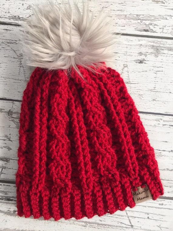Women's Winter Hat, Crochet Cable Hat, Women's Winter Hat, Ready to Ship