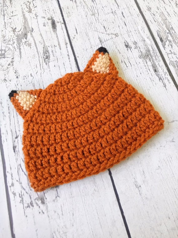 Fox Hat, Crochet Animal Hat, Children's Hat, Ready to Ship