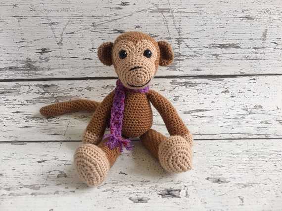 Ernie the Mini Monkey, Crochet Monkey, Stuffed Monkey Toy, Ready to Ship