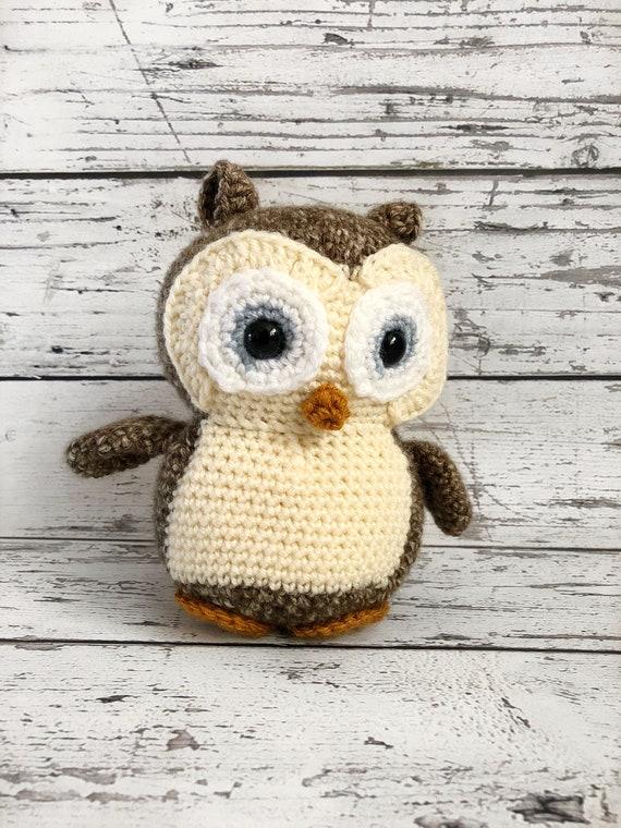 Hooty the Owl, Crochet Owl Stuffed Animal, Owl Amigurumi, Plush Animal, Ready to Ship