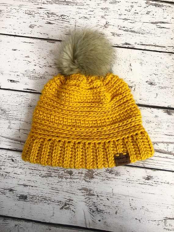 SECOND QUALITY, Children's Faux Fur Pom Hat, 3-10 Years Knit Hat, Ready to Ship