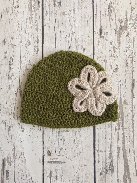 Crochet Hat with Flower for Baby, Children, Ready to Ship