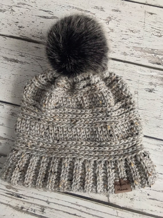 The Lola Beanie, Women's Faux Fur Pom Hat, Crochet Pom Hat, Crochet Beanie, Womens Winter Hat, Ready to Ship