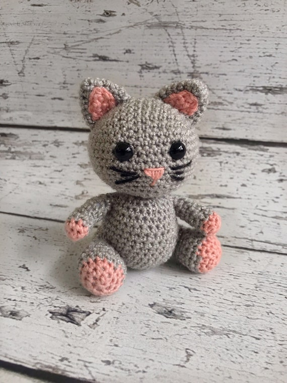 Whiskers the Mini Kitten, Crocheted Cat, Baby Kitten Stuffed Toy, Ready To Ship