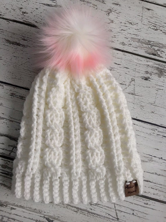 Women's Winter Hat, Crochet Cable Hat, Women's Winter Hat, Ready to Ship