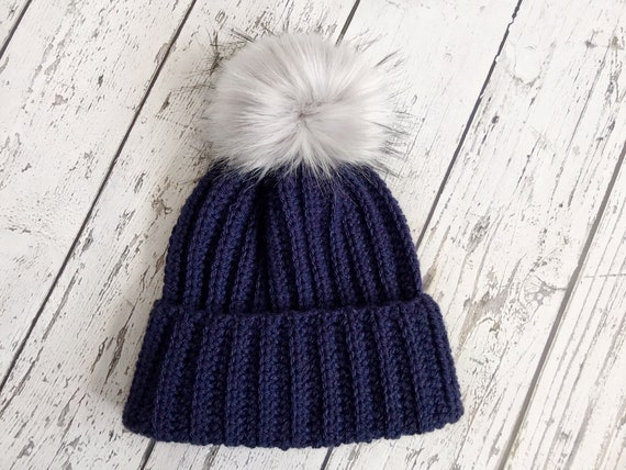 The Classic Brim Beanie Women's Faux Fur Pom Hat, Crochet Stocking Cap, Crochet Beanie, Womens Winter Hat, Ready to Ship
