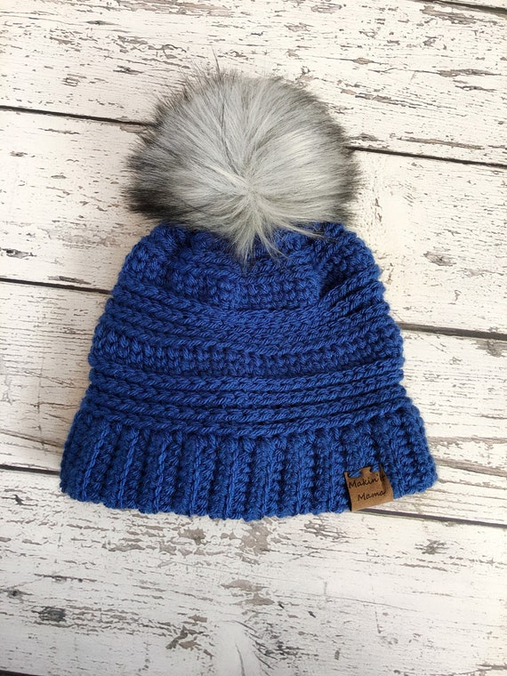 Children's Faux Fur Pom Hat, 3-10 Years Knit Hat, Ready to Ship