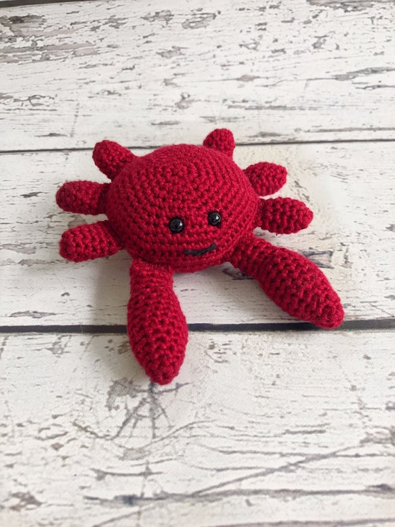Carl the Mini Crab, Crocheted Crab Toy, Crochet Stuffed Crab, Ready to Ship