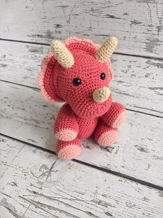 Mini Triceratops, Crochet Triceratops, Dinosaur Stuffed Toy, Dino Toy, Ready to Ship