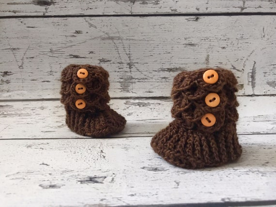 0-6 Month Baby Booties, Slipper Boots, Crochet Crocodile Boots, Ready To Ship