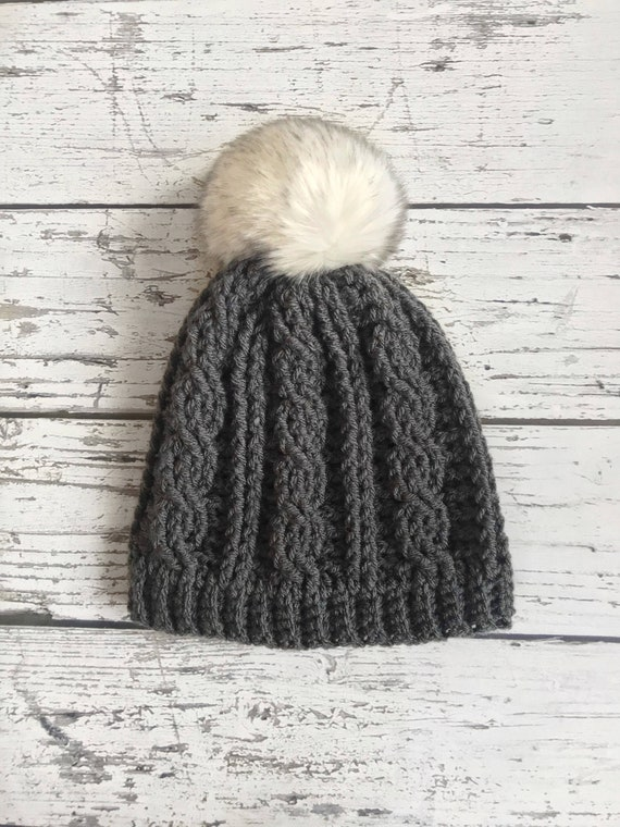 Women's Winter Hat, Crochet Cable Beanie,  Made to Order