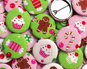 Christmas Badges (Gingerbread And Candy) Fabric Pin Badges / Pin back buttons, for stocking fillers, cracker gifts and party bag fillers