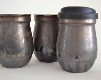 In Stock, Bronze Black Ceramic Travel Mug with Silicone Lid, Small Stoneware To Go Coffee Mug,Bronze 8th Aniversay Gift, Coffee Craver Gift