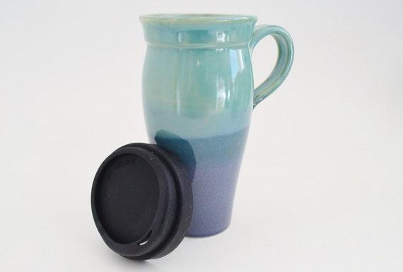 In Stock Blue Green Ceramic Travel Mug Handle 24 Oz Etsy