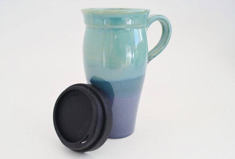 99637d9bf15 Blue Green Ceramic Travel Mug Handle 24 oz Stoneware Coffee | Etsy