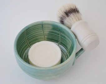Shaving Dish, Stoneware Green Shaving Mug, Gift for Him, Made to Order