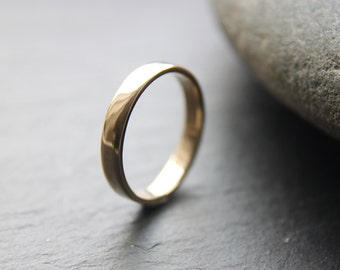 3mm wedding ring in recycled 9ct yellow gold, flat profile, shiny finish - made to order