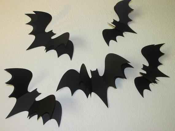"""Halloween table de fête confetti chauve-souris noires pack de 50 1/"""" chauves-souris fournis"""