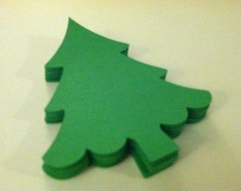 24 green christmas trees, large paper trees, christmas tree embellishments, christmas tree gift tags 3.5inch