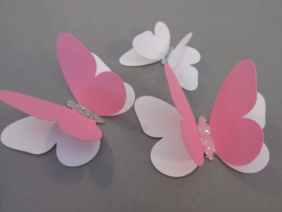WHITE CARD 12 SMALL 3D DIE CUT BUTTERFLY TOPPERS PINK GLITTER