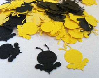 Bee confetti, bumble bees, paper embellishment, party decor, table decorations,  party decoration  (100 count)