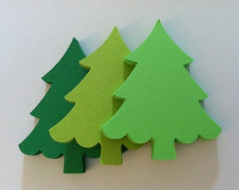 30 green christmas trees, large paper trees, christmas tree embellishments, christmas tree gift tags, 3 inch
