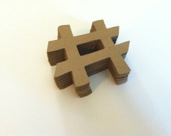 10  hashtags/pound symbol/number sign, brown kraft paper embellishments  (10 count)