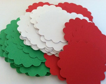 Red, White and Green scalloped circles, cardstock paper embellishments  (72count)-cupcake toppers