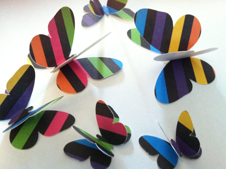 3D Neon butterflies 12 wall butterflies assorted butterfly ...3d Neon Butterflies