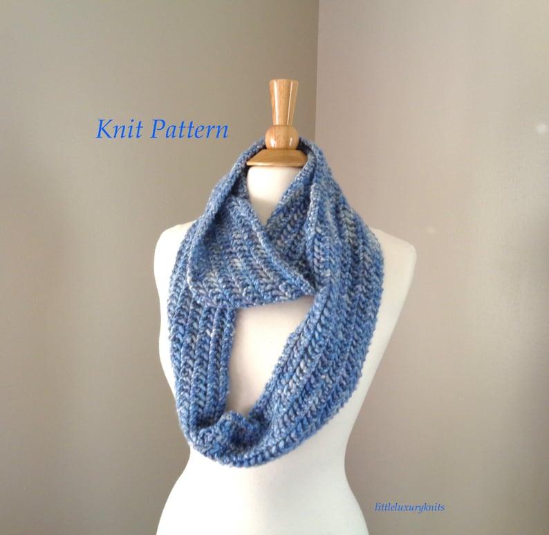 Easy Knit Pattern Infinity Loop Scarf Women Teen Girls Etsy