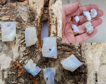 Raw moonstone necklace, rough stone gold filled flashy small rainbow moonstone pendant, raw stone dainty layering necklace, moonstone slab