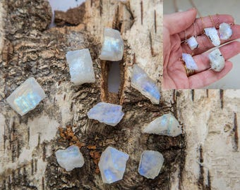 Raw moonstone necklace, rough stone gold filled flashy rainbow moonstone pendant, moonstone slab raw stone dainty layering necklace for her