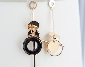 Bar earrings, Mismatched boho earrings, dainty gold circle black earrings, dangle bar asymmetrical earrings golden boho gift for her