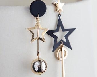 Star earrings, Mismatched boho earrings, dainty gold black earrings, dangle bar asymmetrical earrings golden boho earrings, gift for her
