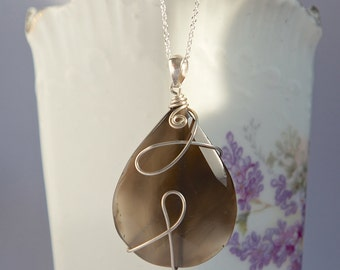 One of a kind pendant with faceted brown quartz gemstone, spiral silver wire shapes, OOAK, teardrop quartz pendant