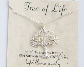Tree of life silver necklace, family tree necklace, personalised message, tree of life sterling silver necklace, dainty gift for her