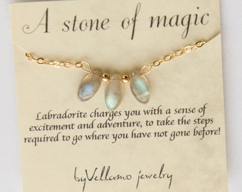 Labradorite moonstone bar necklace gemstone dainty Necklace, flashy labradorite or moonstone Gold Jewelry Gold Necklace for mother, daughter