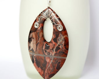 Huge jasper sterling silver pendant, marquis shaped stone pendant, handmade with elegant wire shapes, large reddish brown stone pendant