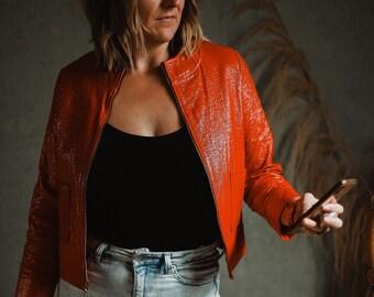 Vintage Red Pleather Jacket, Lightweight Flashy Coat, Michael Jackson Thriller Blazer