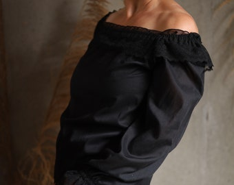 Vintage Black Blouse, Off the Shoulder Lace Top, Sexy 70s Shirt, Ruffle Lace Trim