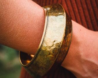 Vintage Gold Tone Bangle Bracelet, Hammered Brass Bangle