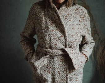 Vintage Handmade Wool Boucle Coat, Hand Knit Coat, Open Front Coat with Tie, One Size Fits Most