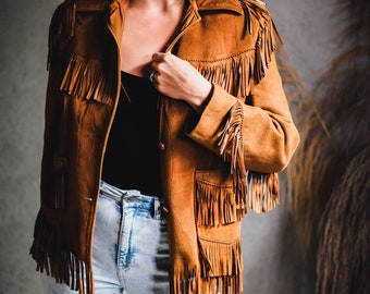 Vintage Vegan Leather Jacket, Faux Suede Coat with Fringe, Western Cowgirl  Style,