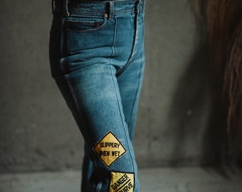 Vintage Cimone Jeans, 70s Jeans with Patches, High Rise Wide Leg Medium Wash Denim Jeans RARE