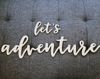 let's adventure - wood cutout sign wall art