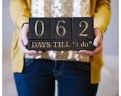 Wedding Countdown Blocks - Days till I do - (Brown & Gold)